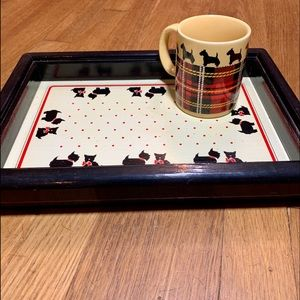 Vintage Scotty Dog Serving Tray With Coffee Mug